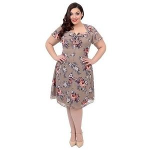 HELL BUNNY VIXEN Retro Taupe Floral Holly Dress L